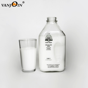 Clear Glass Rectangular Vintage Style Half Gallon Jugs Great Glass Milk Bottle for Storing Milk, Juice & Water