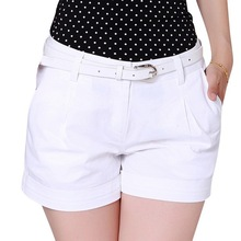 2015 Korea Summer Woman Cotton Shorts Size S-2XL New Fashion Design Lady Casual Short Trousers Solid Color Black / Khaki / White