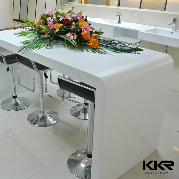 Acrylic Solid Surface Composite Marble Top Dining Bar Table