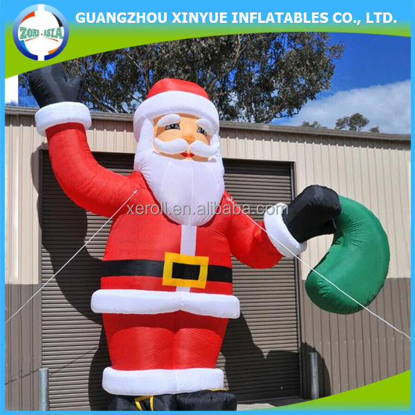 HI CE standard say hello giant inflatable santa claus with gift