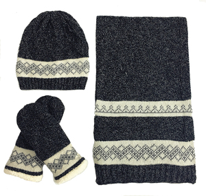 3 in 1 30%Wool+70%Acrylic Soft Warm Boys Winter Knit Slouch Beanie Hat Scarf Gloves Set