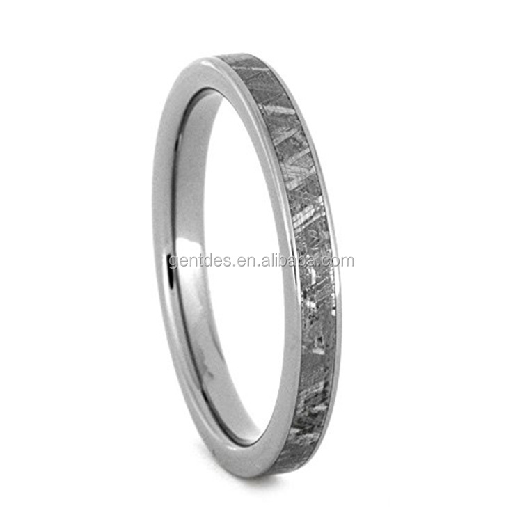 Men 3mm Comfort Fit Titanium Meteorite Ring Wedding Band Hand Crafted Gibeon Meteorite Inlay