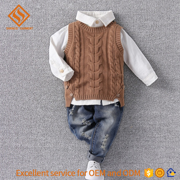 New Design Kids Knit Vest Twist Pattern Round Rib Neck Child Button