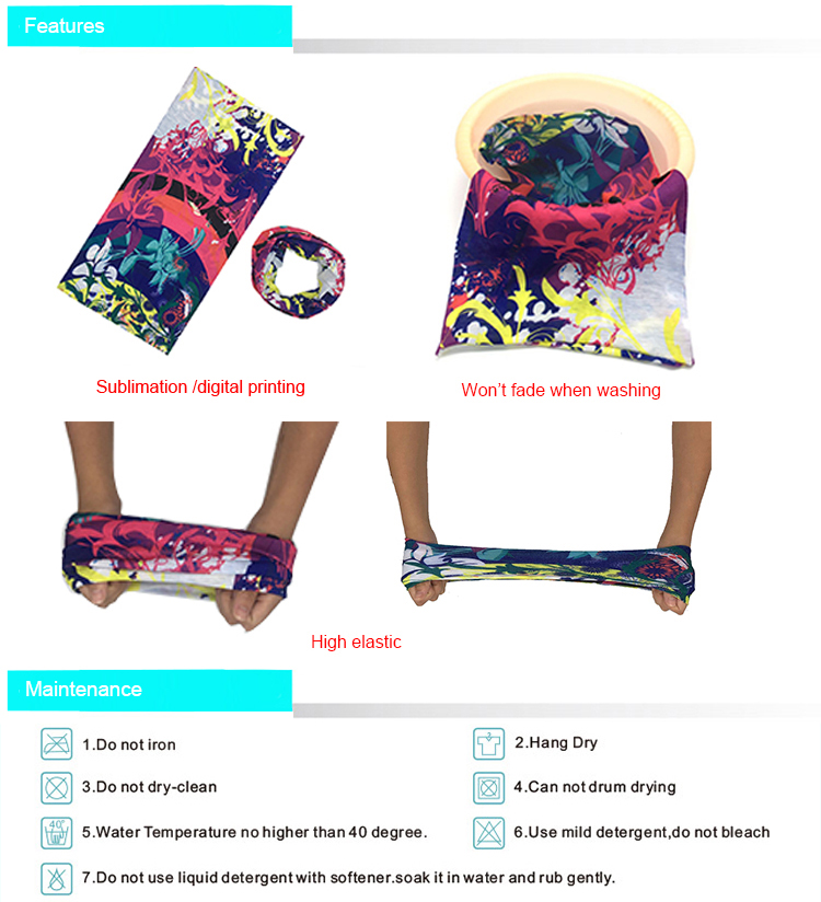 100% Polyester Multifunctional Sublimation Seamless Tube Bandana