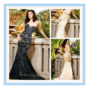 Shining Beads Sweetheart Neckline Black Crystals Fishtail Evening Dress(EVFA-1116)