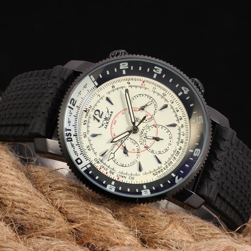87e14982804 Homens Marca De Luxo Relógios Automáticos JARAGAR Preto Silicone Turco