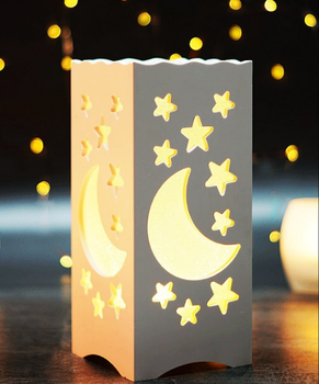 Table Light With Moon Star Shaped Carving Led Table Lamp For
