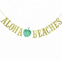 Hawaiian Aloha Beaches Banner Decorations with Palm Leaves Garland for Hawaiian Tropical Luau Beach Summer Party Supplies Decor