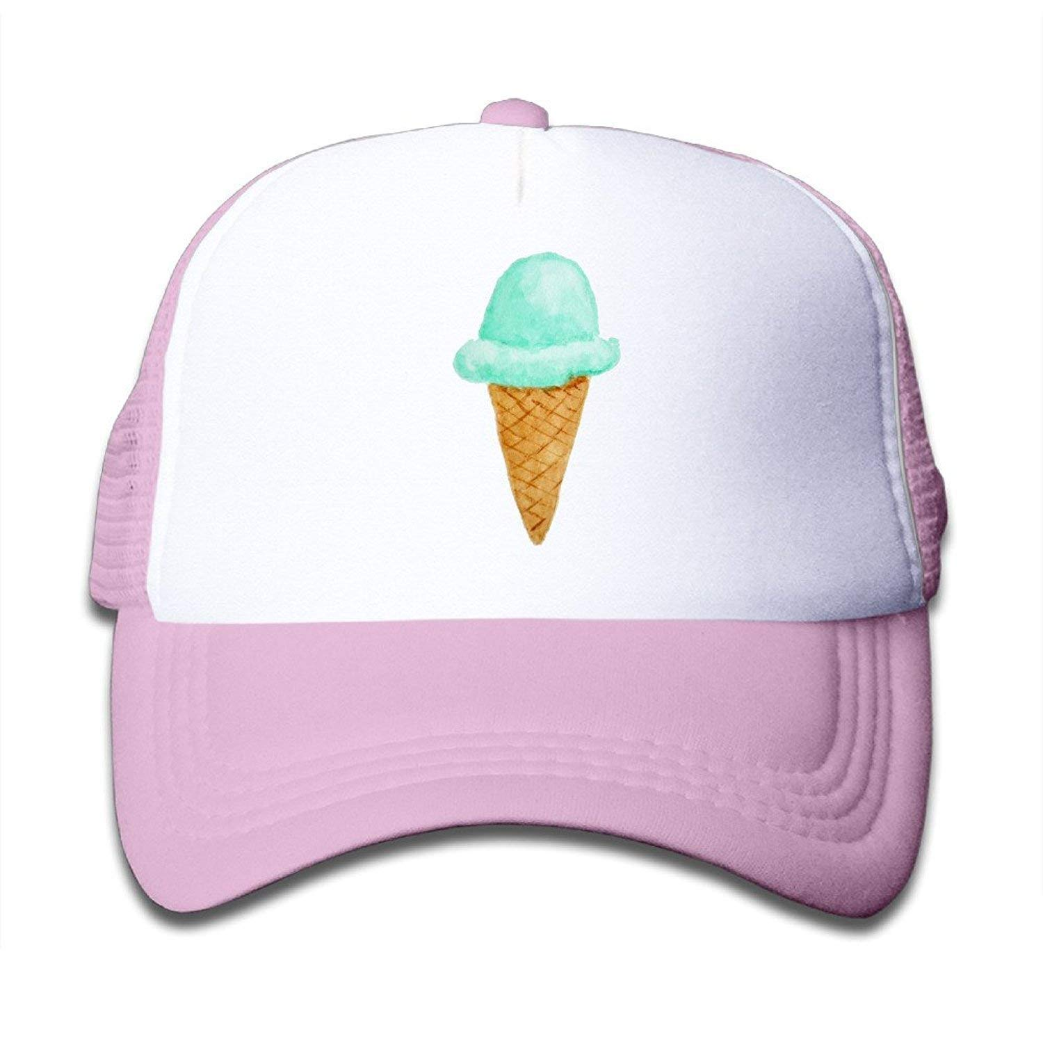 983a3369706 Get Quotations · Cute Kids Ice Cream Cone Watercolor Cute Adjustable  Snapback Hats Mesh Baseball Hat Unisex Cap