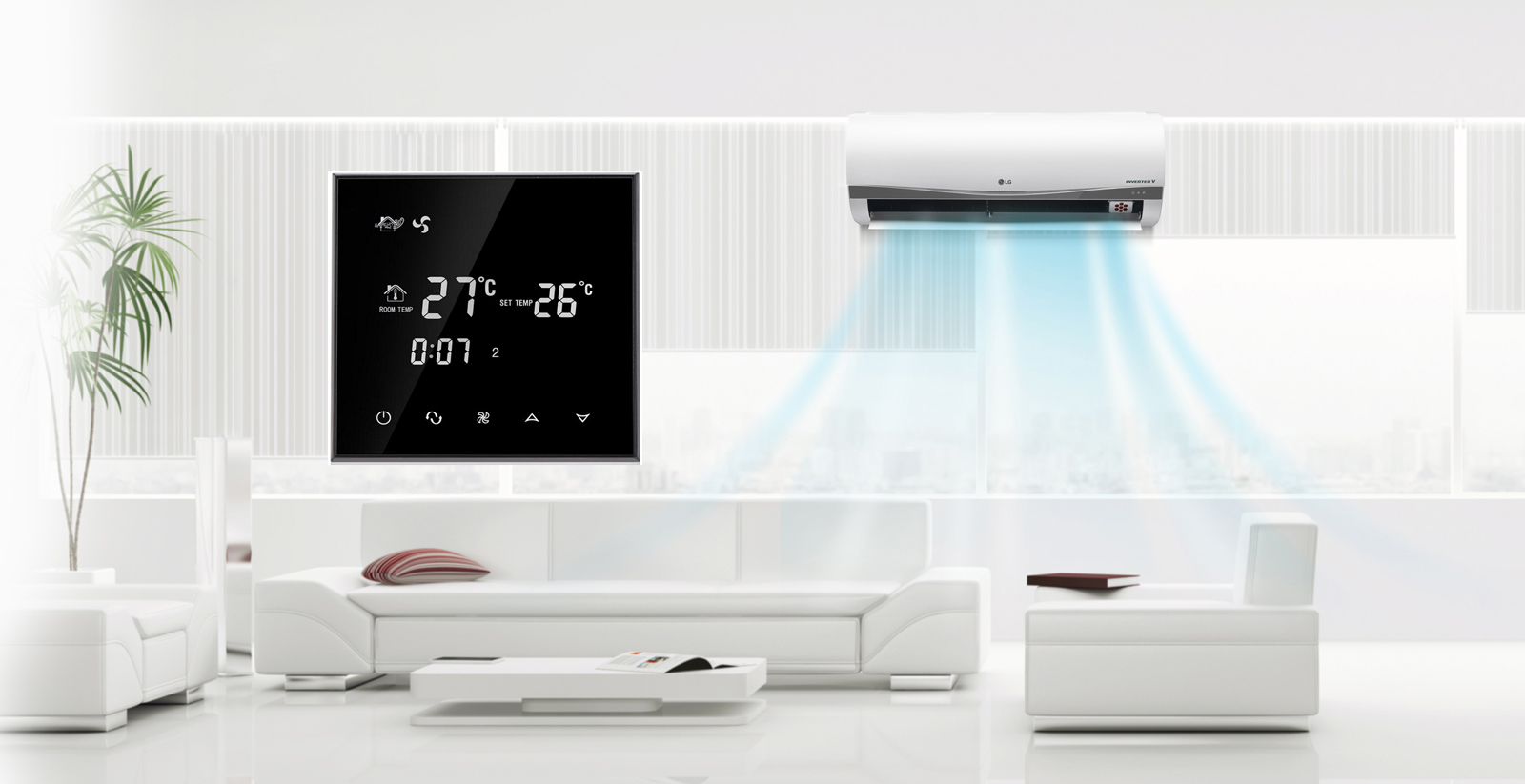 Wholesale digital led touch screen fcu thermostat for air conditioner