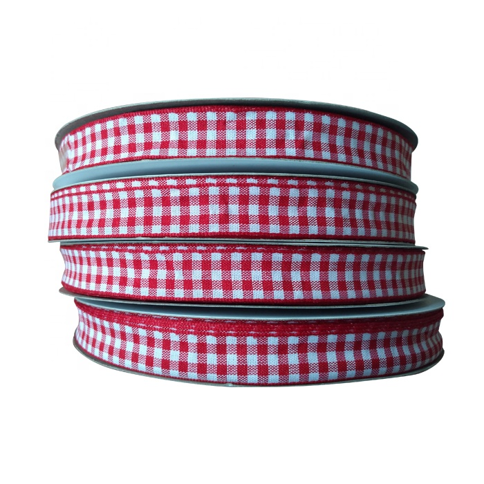 Wholesale 100% polyester double face latticed ribbon weaving