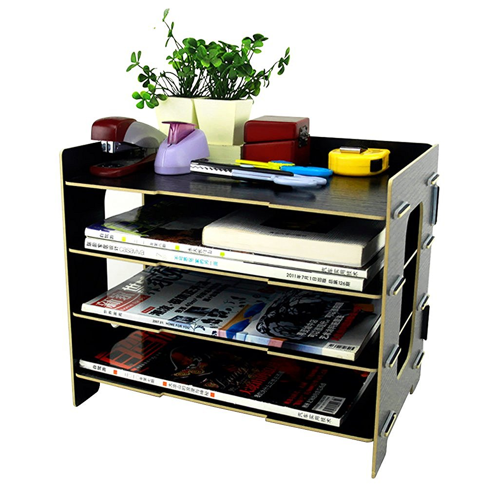 Clobeau Wooden DIY 4 Tier Creative Desktop File Rack Paper Document Magazine  Holder Sorter Office Home