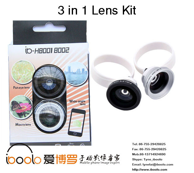 Universal gadget 3 in 1 lens kit fish eye wide angle macro lenses with cilp for smartphone