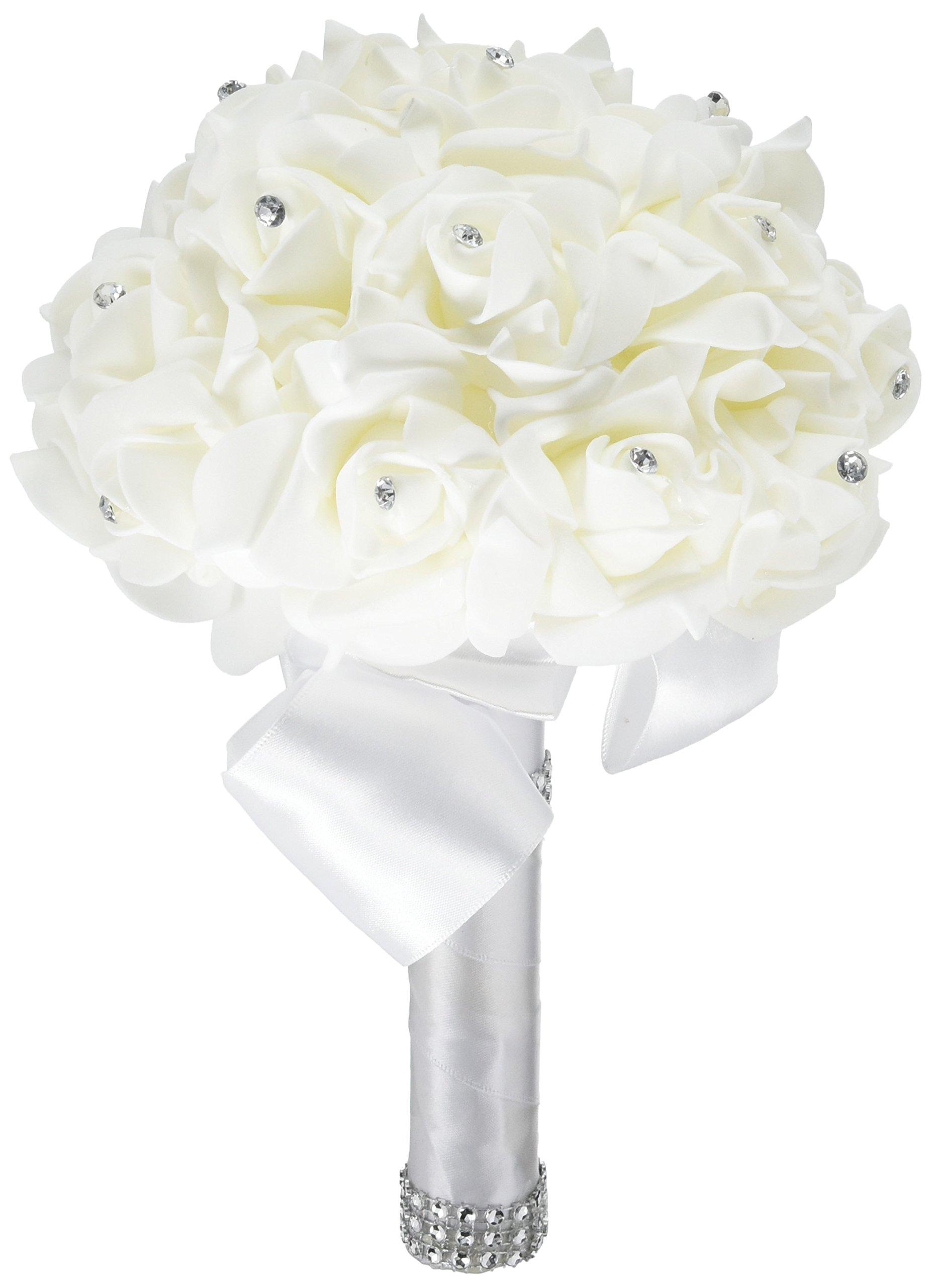 Buy wedding bouquet febou big size white bridesmaid bouquet bridal wedding bouquet febou big size white bridesmaid bouquet bridal bouquet with crystals soft ribbons izmirmasajfo