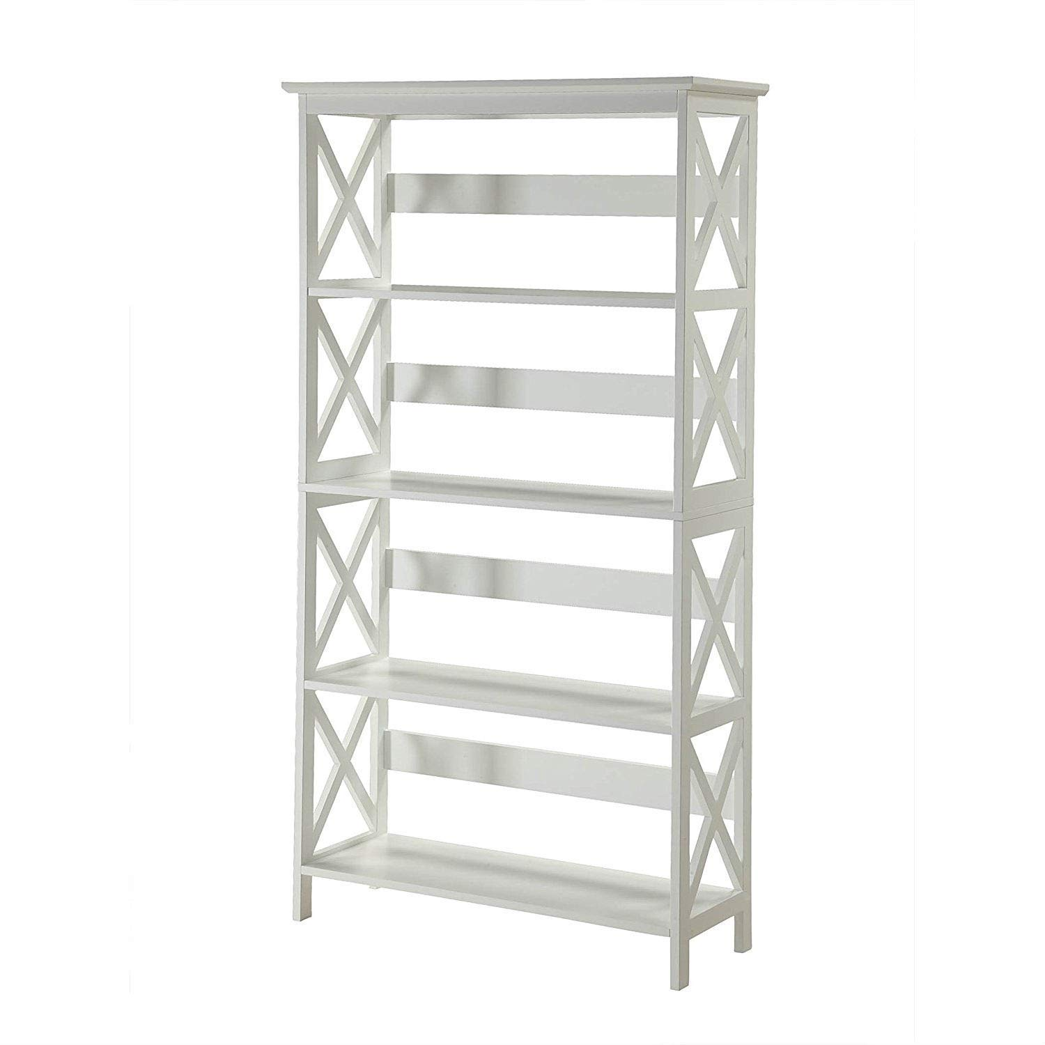 Trustpurchase Glossy White 5-Shelf Bookcase, Featuring 5 Spacious Shelves that Allow Plenty of Space for Everything from Books to Collectibles, Easily Fit with Most Decor So You Can Enjoy it for Years