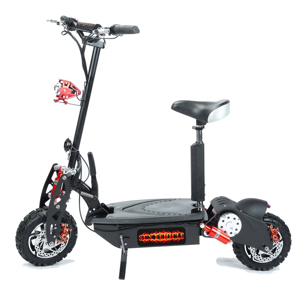 CE approved folding 2000W electric scooter 48V with brushless motor 12' cross tires, Red;black;yellow;blue;orange