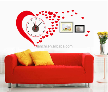 DIY Wall Clock Stickers Red Love creative clock wall stickers Romantic Wedding Design decor