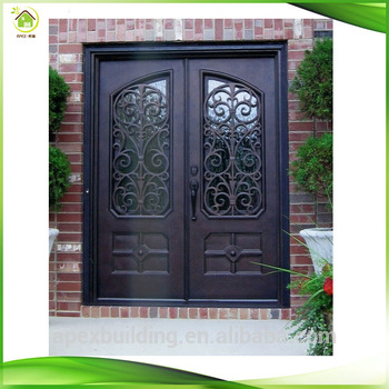 Sliding double door iron grill design wrought iron main for Main door grill design