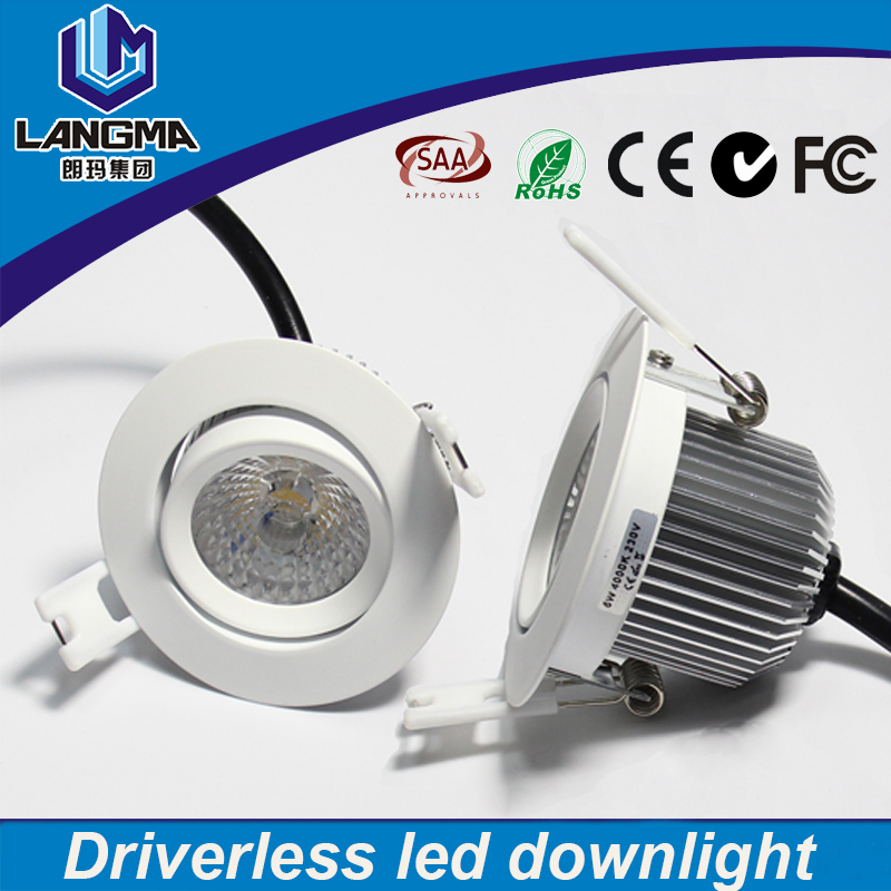 Langma high quality dimmable 6watt AC cob celing lamp cut out hole 70mm warm white Ra>80 led downlight aluminium housing