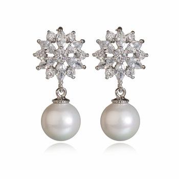 Zircon Fashion Design Long Heavy Earrings Pearl Gold Jhumka American Diamond With Price