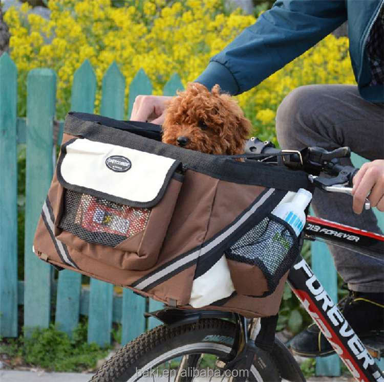 Black Dog Carrier Bicycle Oxford Easy Mounting Hand Bike Basket Car Seat Pet Carrier For Bike