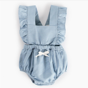 2018 New Arrival Summer Blank Baby Flutter Sleeve Girl Romper Bodysuit 100% Cotton