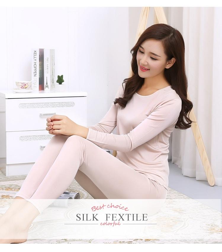 ee650d96a6205d 2019 Wholesale 100% Pure Silk Women S Long Johns Sets Women Winter ...