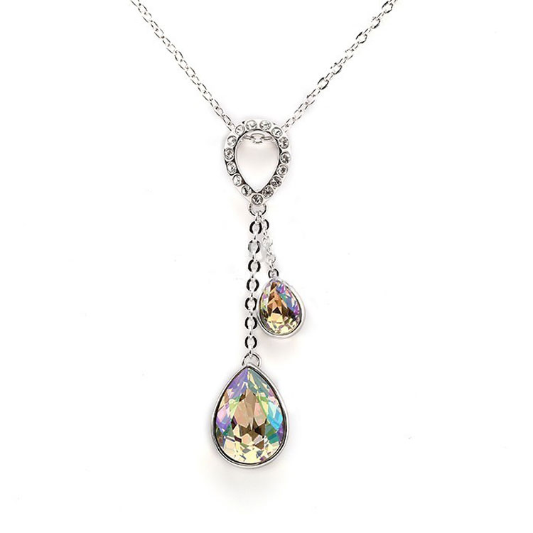 Fashion Multicolor Water Droplets Pretty Silver Earring And Necklaces Jewelry Sets For Women