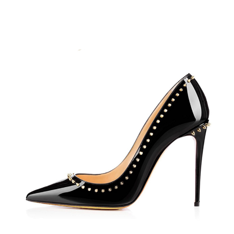 2017 factory custom logo 12cm factory ladies rivet high heel women <strong>shoes</strong>
