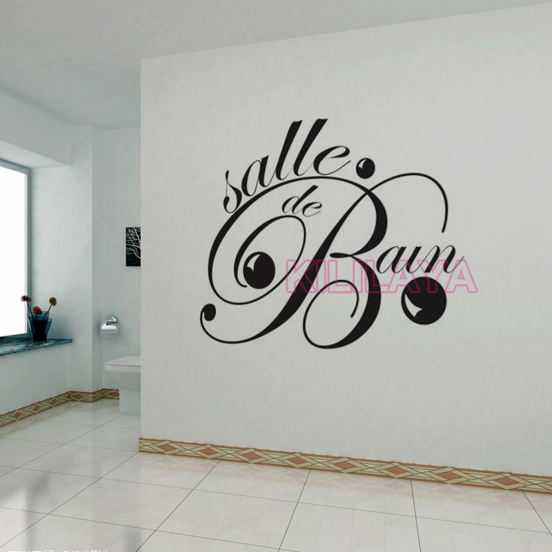 stickers french salle de bain vinyl wall sticker for bathroom diy mural wall decals art home. Black Bedroom Furniture Sets. Home Design Ideas