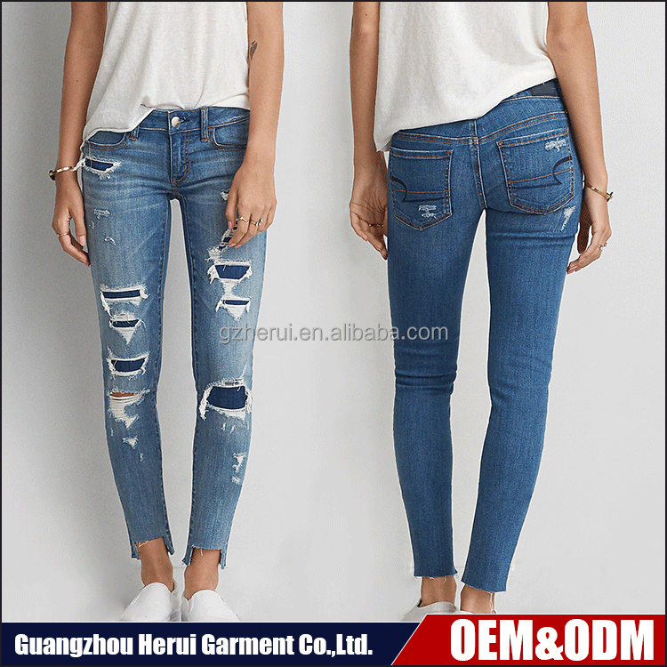 New Arrival Fashion Ladies Ripped Washed Cotton Jeans Trousers High Quality Skinny Women Jeans Pants Pent