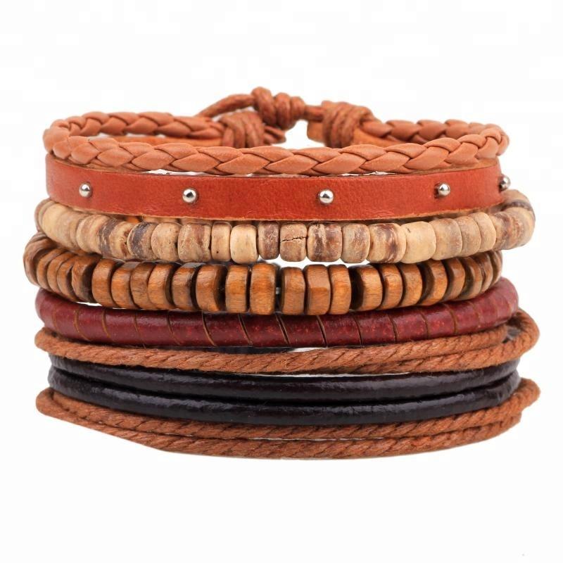 Mens Womens hout kralen pu leather touw gevlochten armbanden, multilayers lederen armbanden en armbanden