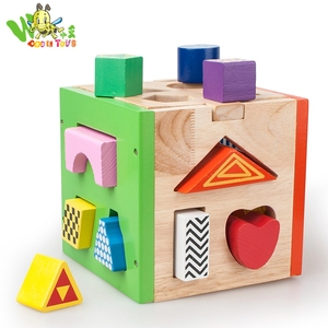Children early education mentality wooden toys geometry building blocks