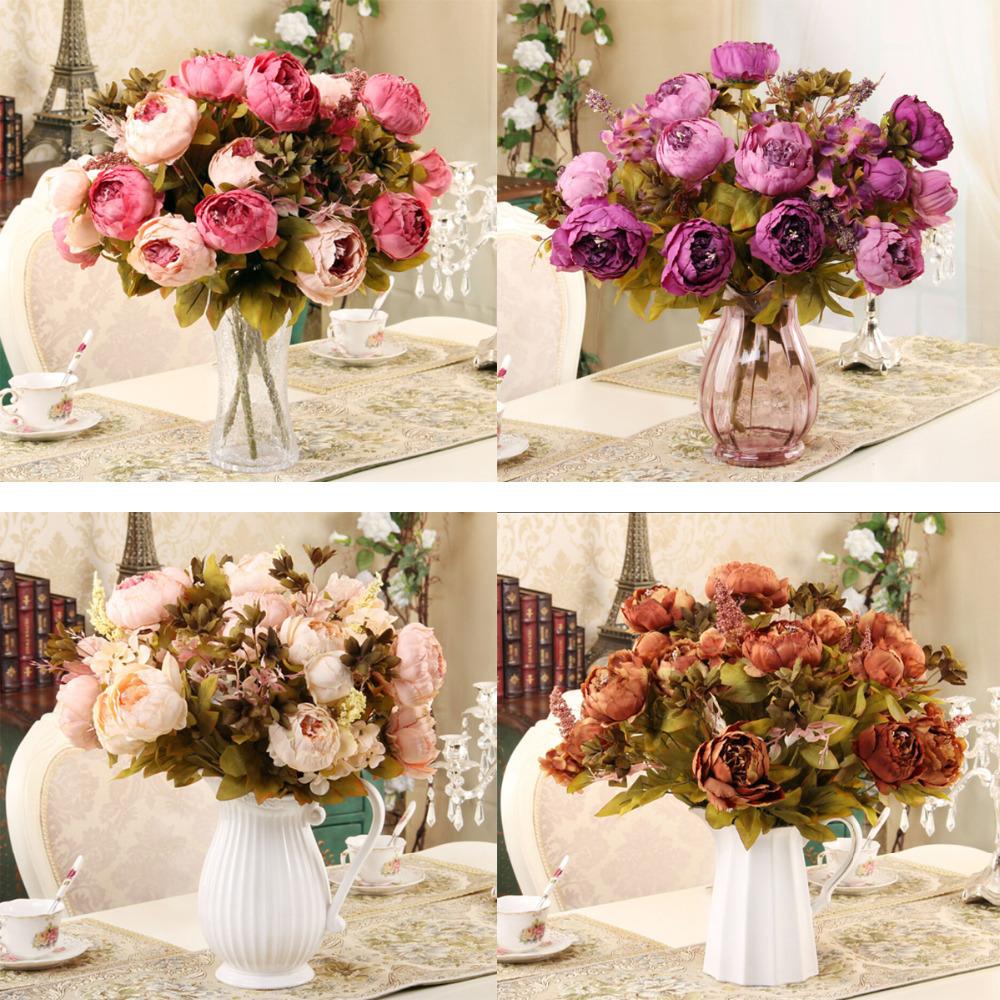 Flower Decoration Wedding: 2015 New 1 Hank Decorative Flowers Artificial Peony Silk