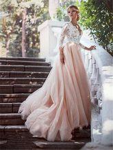 Сексуальное свадебное платье принцессы с v-образным вырезом, кружевные длинные рукава, официальные свадебные платья с аппликацией, нежно-ро...(China)