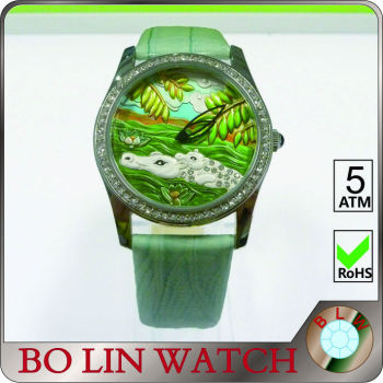 ladies watch/stainless steel case/japan movement/CNC jewelry/IPS/emboss face, newest watch emboss face