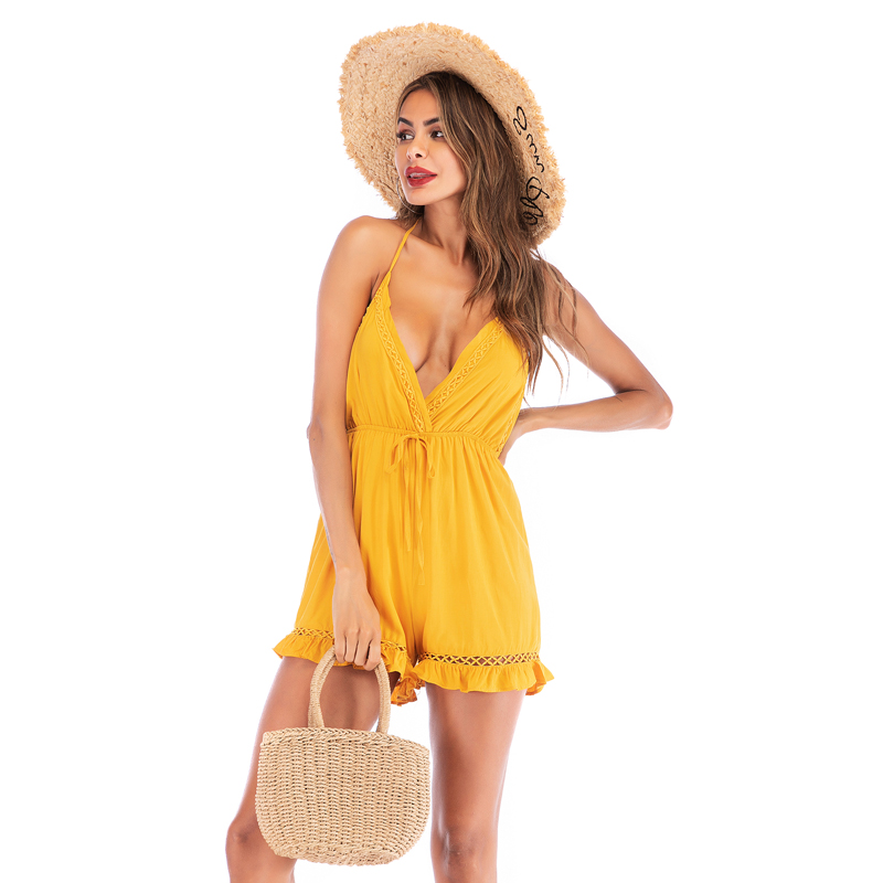 Y6024 Sexy Women 2019 Summer Halter Neck Beach Jumpsuits Playsuits