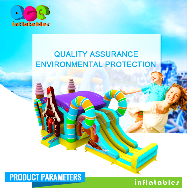 Commercial outdoor colorful Inflatable Slide Dry N Wet Combo for sale