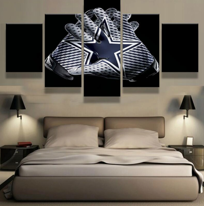 5 Panel Dallas Cowboys Canvas Prints Painting Wall Art Nfl: Popular Glove Picture-Buy Cheap Glove Picture Lots From