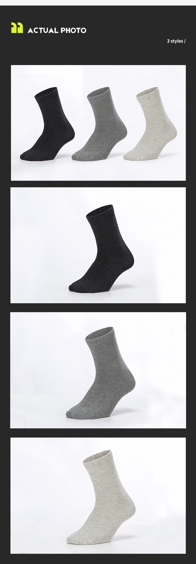 Daily work silver anti-bacterial anti-odor calf men socks