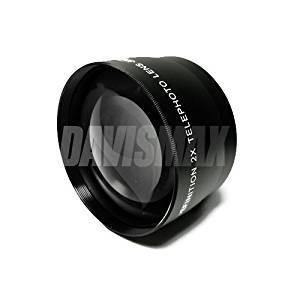 Lens Bag and DavisMAX FiberCloth for Nikon D5000 D5100 D90 D3100 D300 D300s D200 D60 /& MORE! 52MM 2X Telephoto Lens Includes Lens Caps