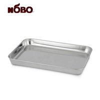 NOBO Food Grade Rectangular Buffet Food Serving Dish Dinner Plate 304 Stainless Steel Bbq Tray
