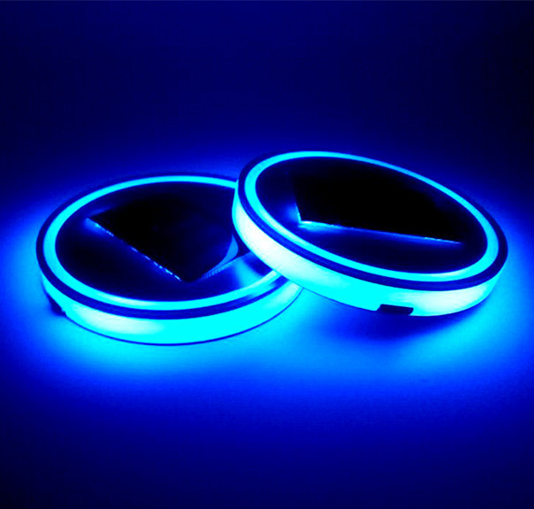17 lighting models RGB color car logo light USB rechargeable cup coaster led Luminescent led car cup holder lights