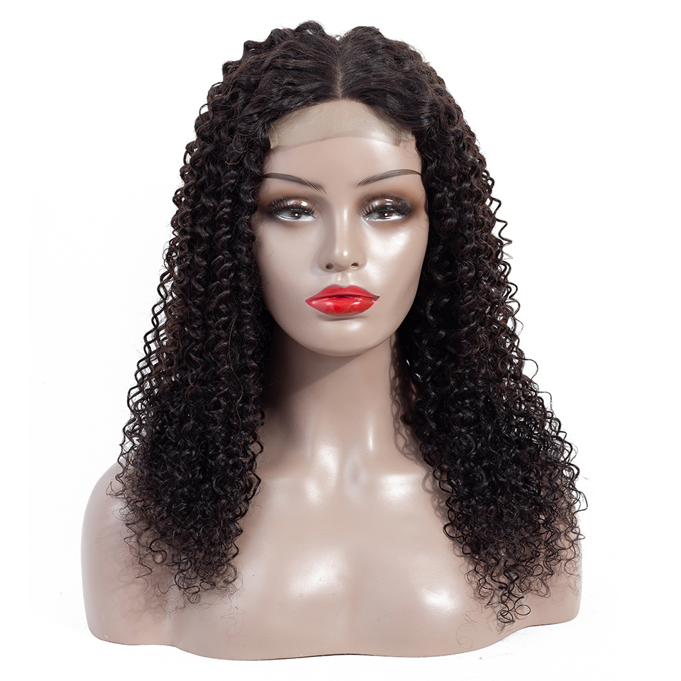 12 14 16 18 inch raw mongolian virgin human hair weave wholesale lace front closure kinky curly hair wig, Natural color 1b