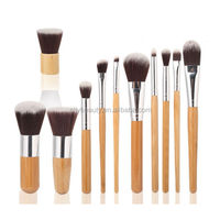 11pcs best flat top foundation makeup brush set with wooden handle for face makeup