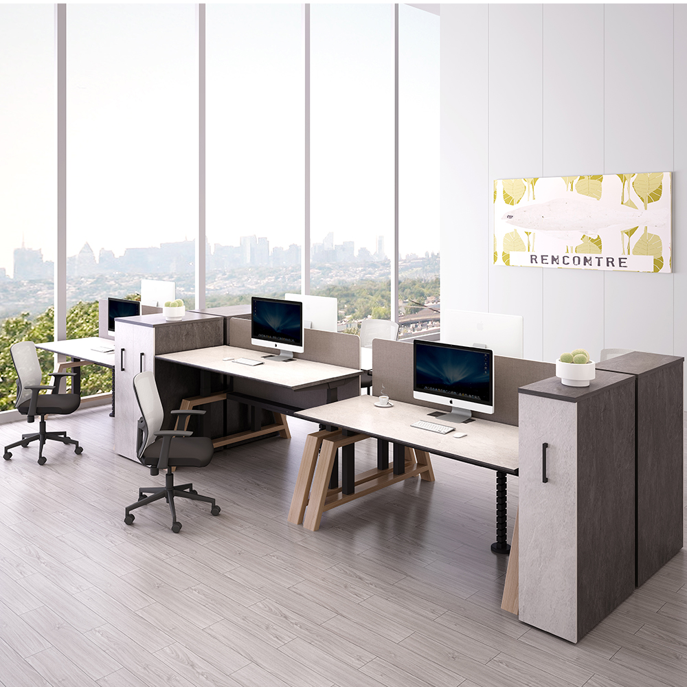 Long-wear cool standing table top adjustable height workstation desk