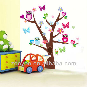 Zy1006 Owl Tree Branch Wall Mural Decals Baby Nursery Kids Room Sticker Home Decor