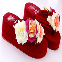 cheelon shoes fashion handmade eva wedge summer flip flops ladies beach slippers flower