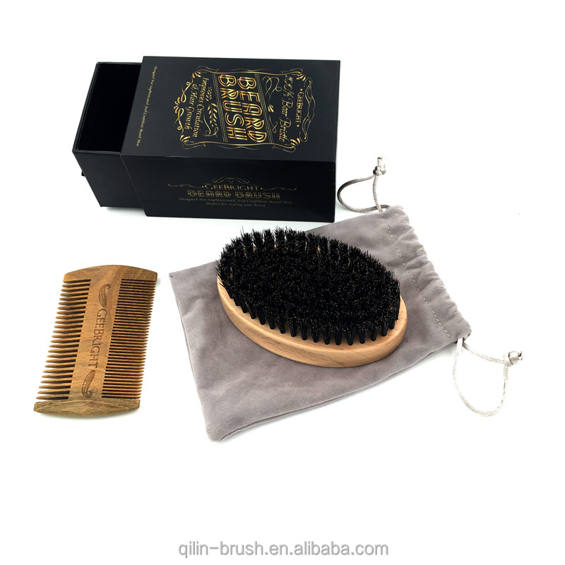 wholesale soft shaving beard Brush and comb set for men boar bristle beard brush set wooden hair brush
