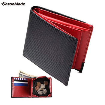399eb328da9f Amazon new men's two fold carbon fiber leather modern wallet coin travel  passport wallet